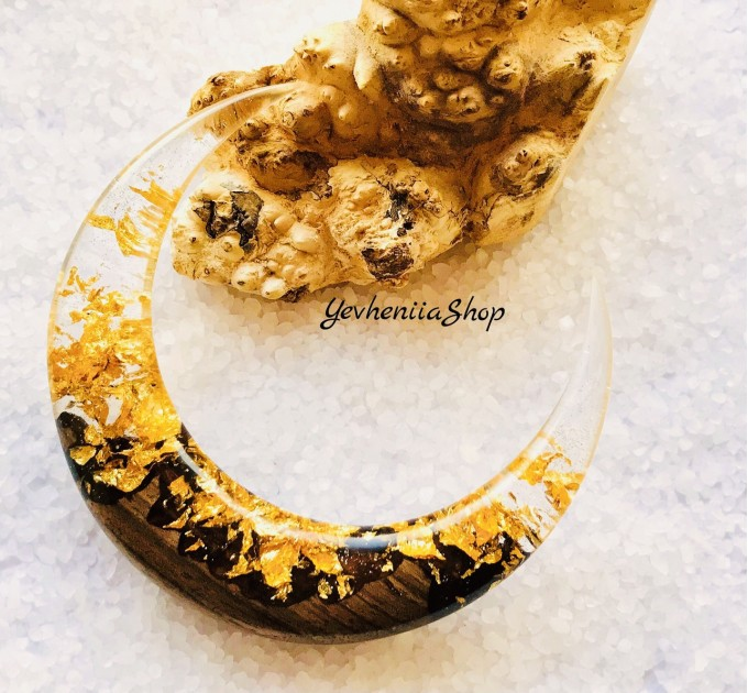 Crescent hair stick with oak wood, clear resin and gold foil