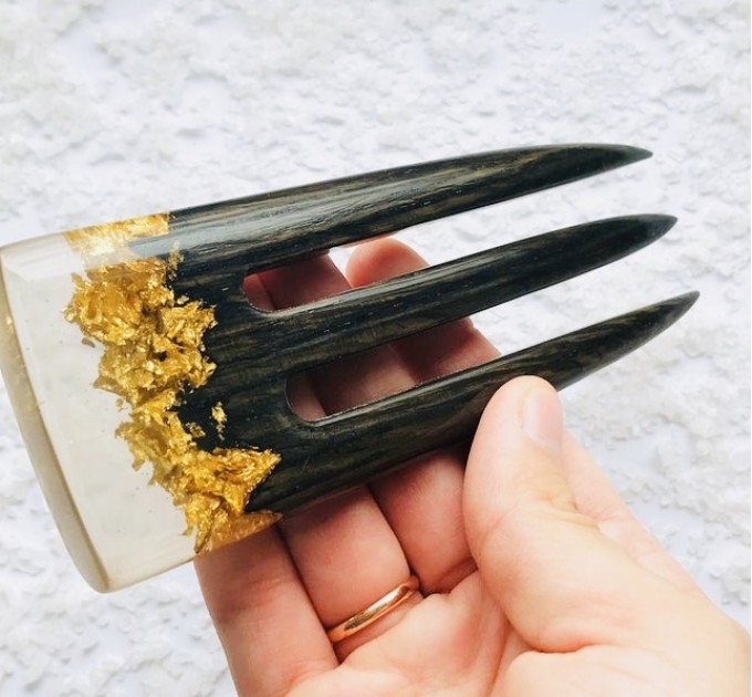 Wooden hair fork with black oak, resin topper and gold foil