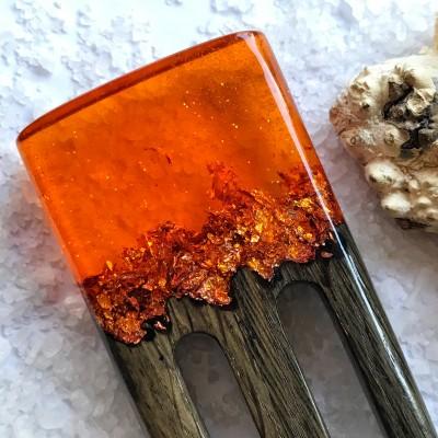 Hair fork with oak, orange resin topper and foil