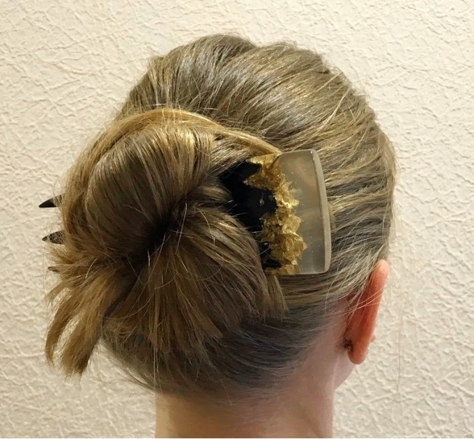Bun holder for women Wooden hair fork with black oak Hair Accessories Hair fork transparent resin and silver foil Resin hair jewelry