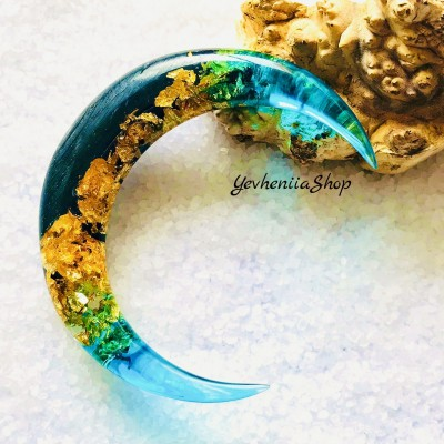 Crescent hair stick with black oak wood, blue resin and gold foil