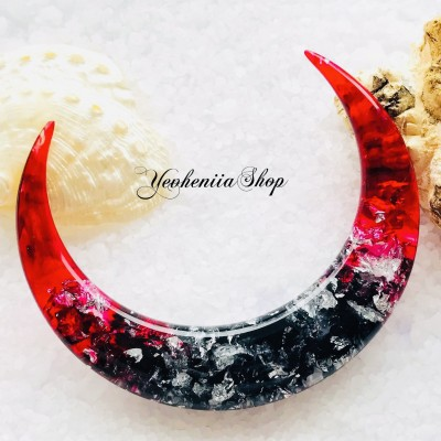 Crescent hair stick with silver foil, red and black resin
