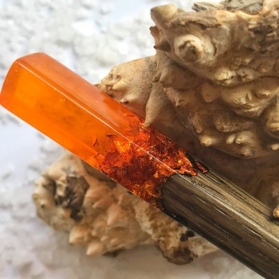 Wooden hair stick with orange resin and foil