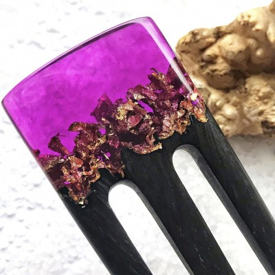 Hair fork with oak wood, purple resin topper and foil