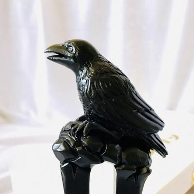 Carved wooden hair fork black raven