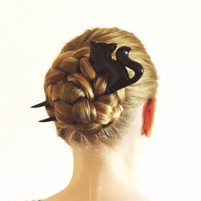 Wooden Hair fork with Black Cat