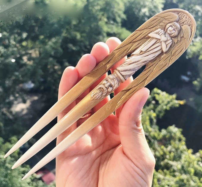 Carved wooden hair fork with Gold Angel