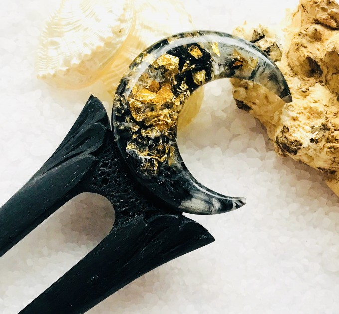 Hair fork with black oak, gold foil and black resin, Gothic hair stick