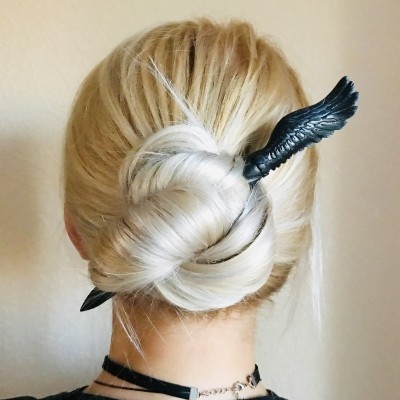 Carved wooden hair stick with bird  wing