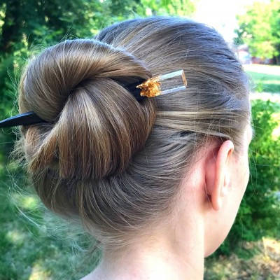 Wooden hair stick with resin and gold leaf