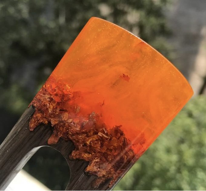 Hair fork with oak wood, orange resin topper and foil
