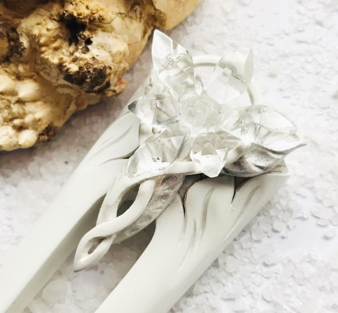 Carved wooden hair fork with crystal star