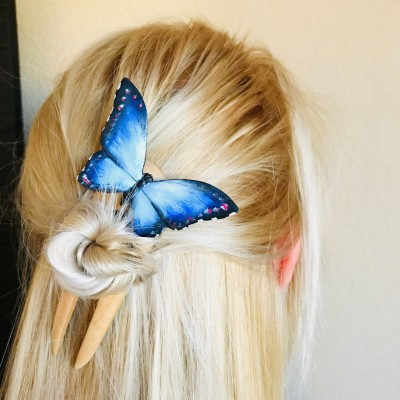 Carved wood hair fork with blue butterfly