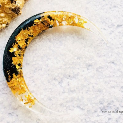 Crescent hair stick with black oak wood, clear resin and gold foil