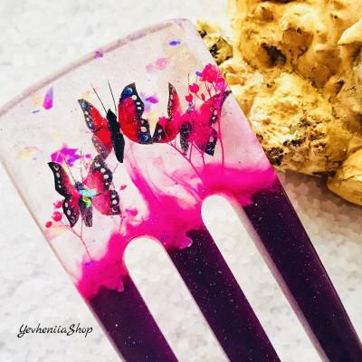 Purple resin hair fork with pink butterflies