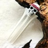 Carved wooden hair fork with Skull, Gothic hair stick