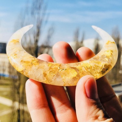 White crescent resin hair stick with gold foil