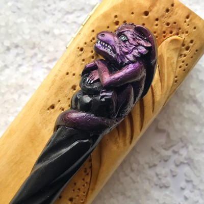 Carved wooden hair stick with purple dragon