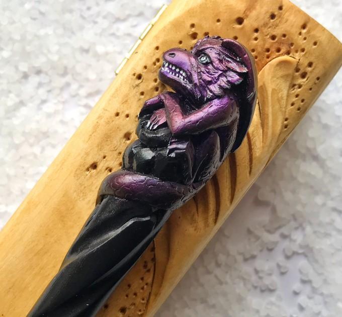 Hair stick with purple dragon, Hair accessories with dragon, wooden carved hair fork, bun holder, hair chopsticks, carved hair barrette