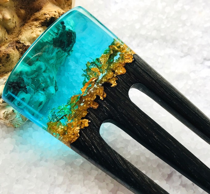 Hair fork, Wooden hair fork with blue resin and gold leaf, Hair accessories for women, Bun holder, Hair slide, Womens gift